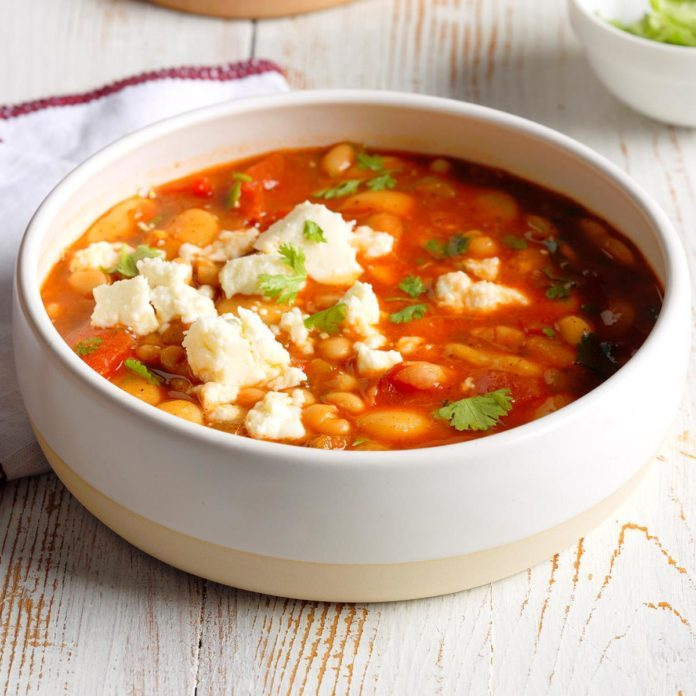 A bowl of Quick Mexican Bean Soup