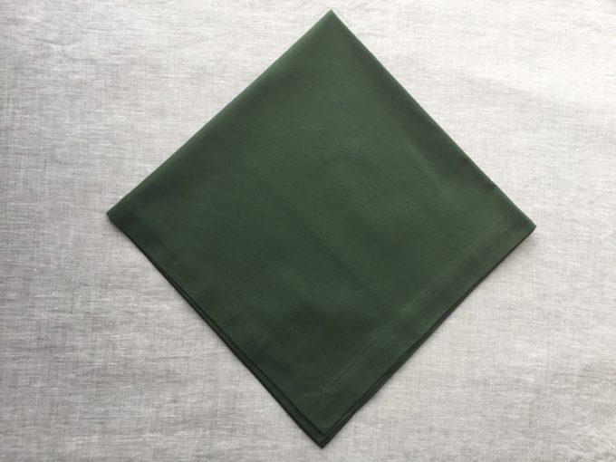 Green napkin laid flat
