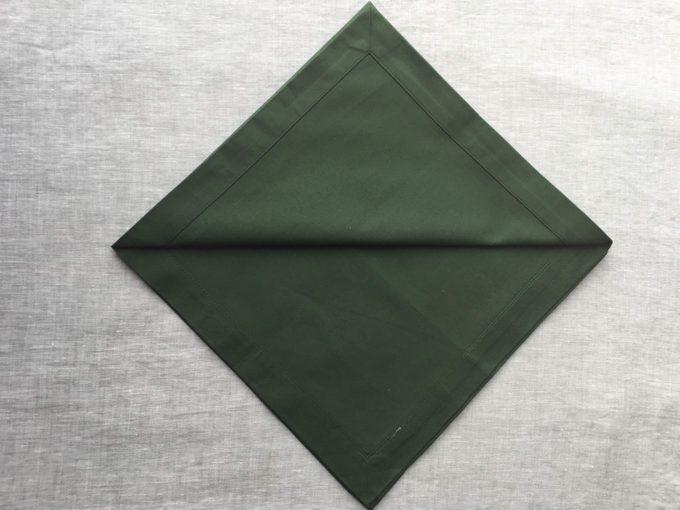 Folded green napkin