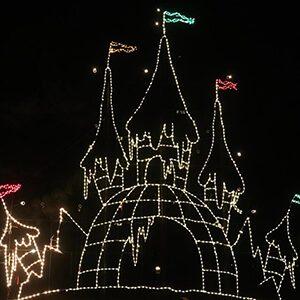 Huge winter wonder castle light display