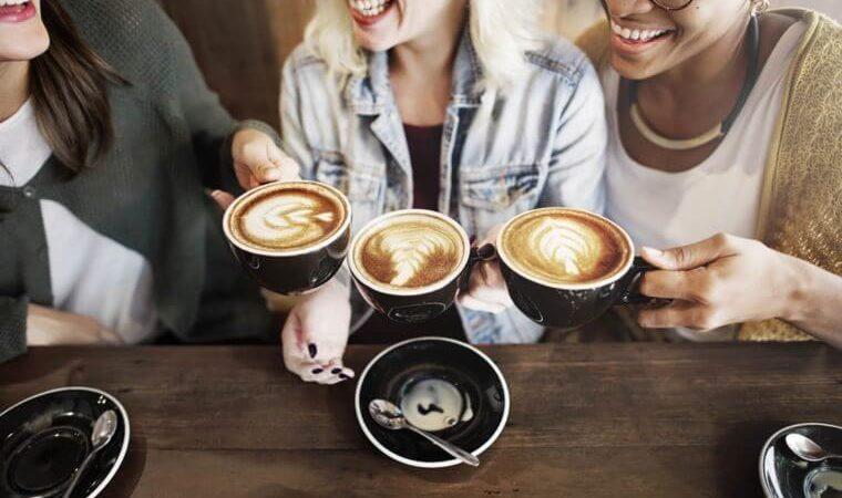 People drinking coffee.