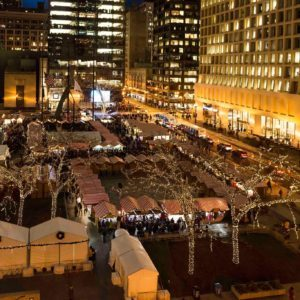 Christkindlmarket Chicago overhead shot of tents and shoppers