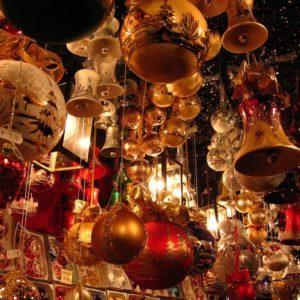 Ornaments hanging at the Christkindlmarket in Des Moines