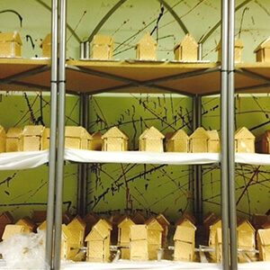 Shelves filled with gingerbread houses