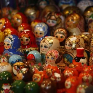 Crowd of painted wooden figures