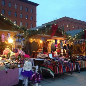 Line-up of stalls at the St. Paul European Christmas Market
