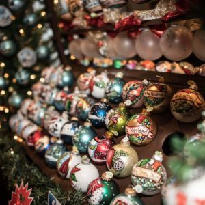 Rows of ornaments on display