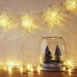 low key and vintage filtered image of christmas trees in mason jar with garland warm lights. selective focus