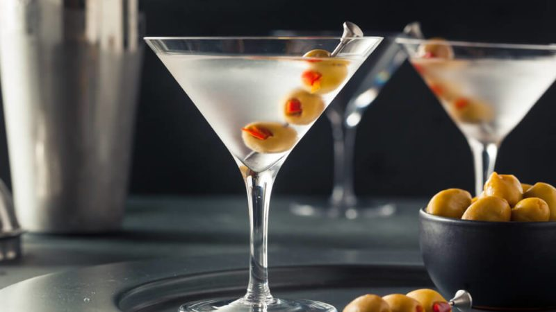 Classic Shaken Dry Vodka Martini with Olives