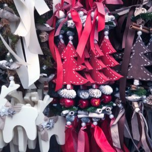 Black, red and white cut-out ornaments