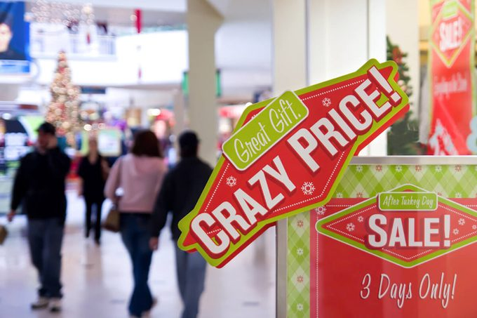 Crazy price sign board decoration at shopping mall