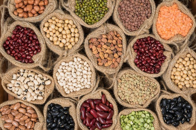 Various dry legumes in a sack cloth, Different dry legumes for background