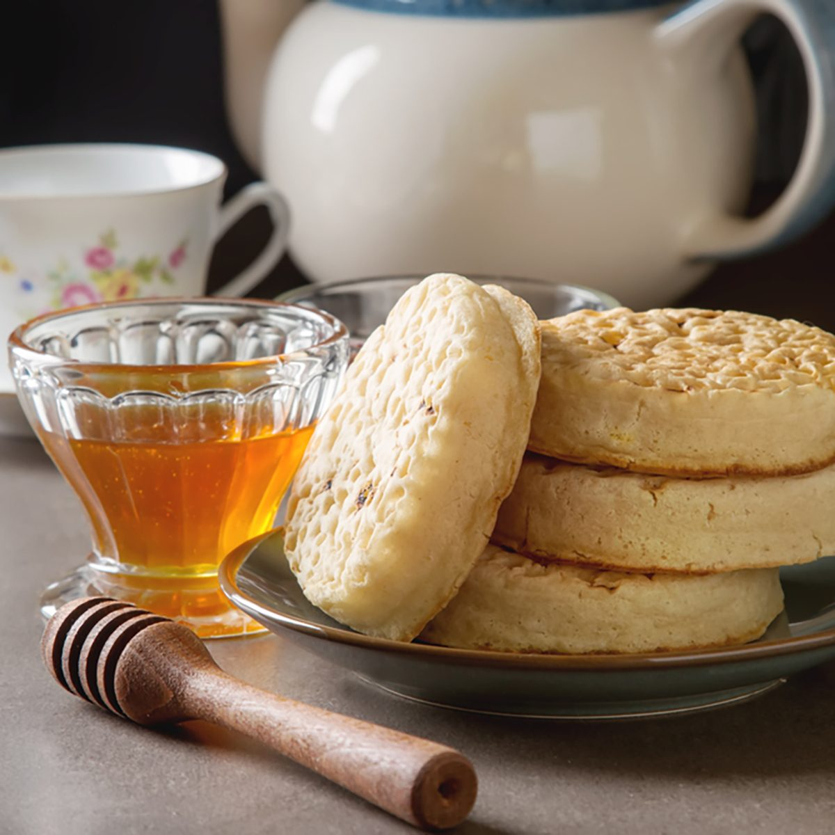 Hot Home made toasted crumpets served with honey and jams.
