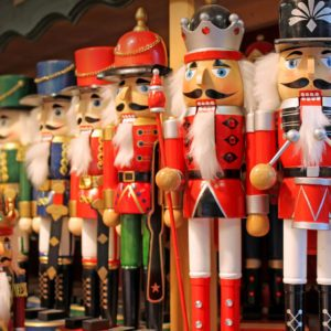 Colorful nutcrackers at a traditional Christmas market