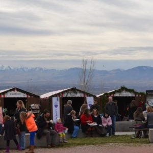 People shopping at stalls at the Photo: Christkindlmarkt SLC