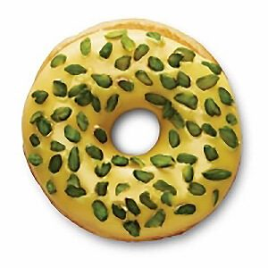saffron-infused icing with sprinkled pistachios donut