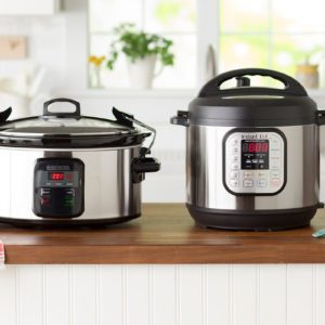 Slow cooker and instant pot on a counter top together