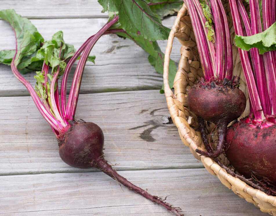 Fresh root vegetable beets in a woven basket -farm to table healthy lifestyle perfect for raw food enthusiast, vegetarians, and juicing.