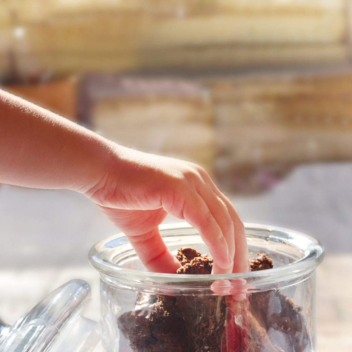 Child's hand reaching for a piece of chocolate brownie stored in a glass cookie jar.