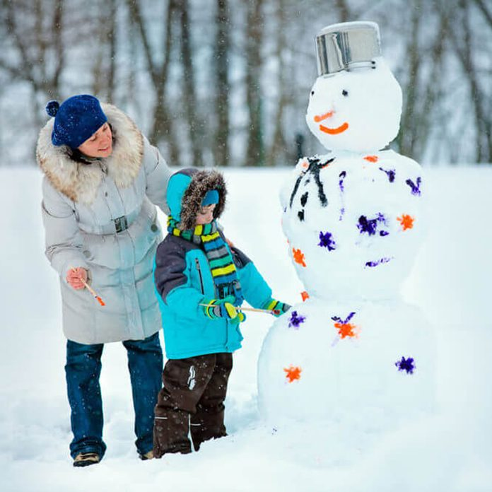 Parent and child painting snowman