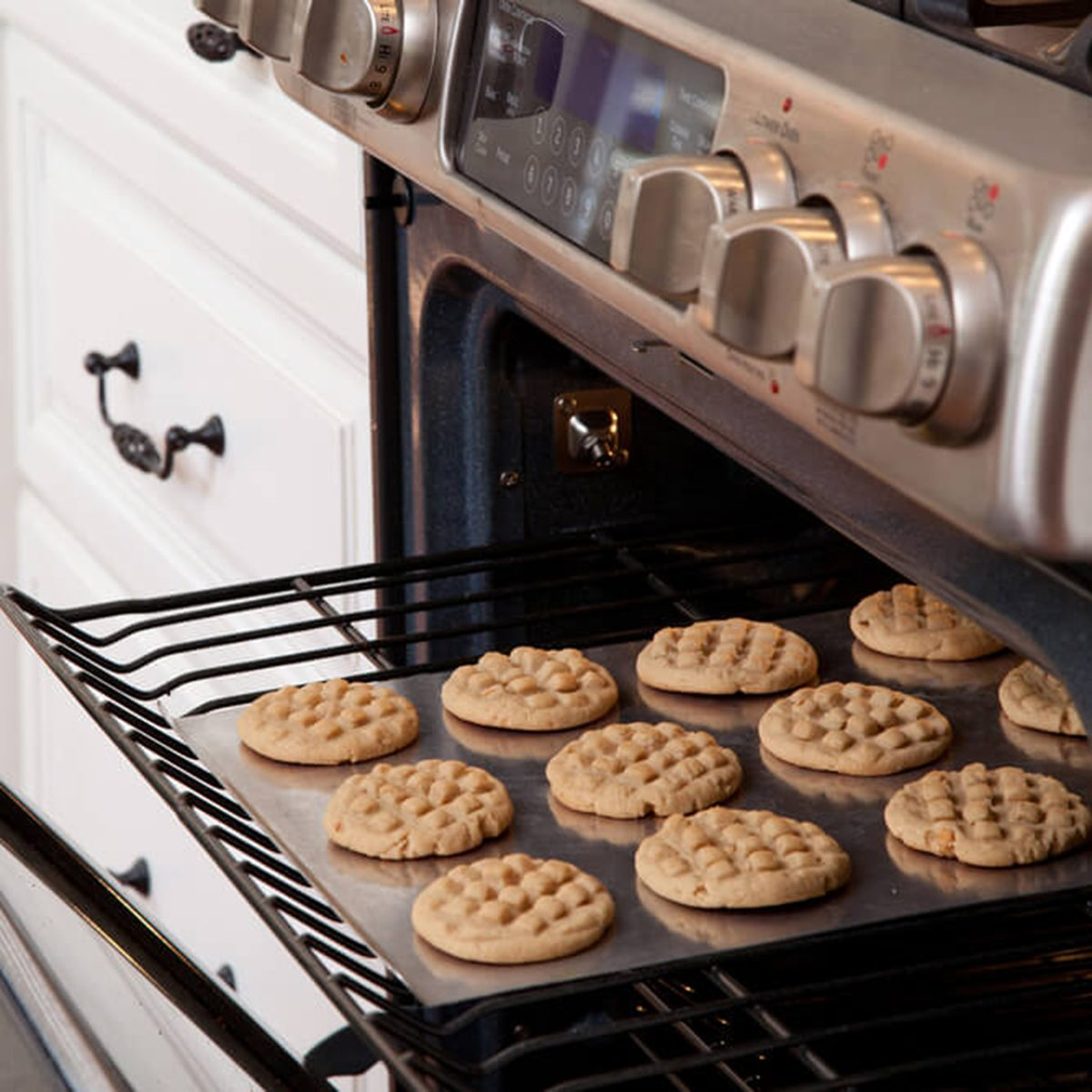 Peanut butter cookies coming out of the oven