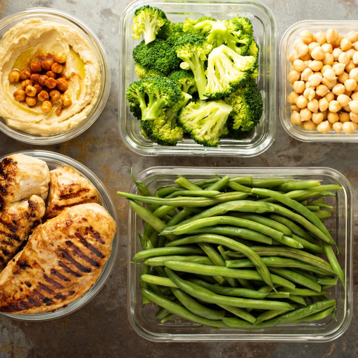 Grilled chicken meal prep with cooked rice and vegetables; Shutterstock ID 1069332170; Job (TFH, TOH, RD, BNB, CWM, CM): TOH