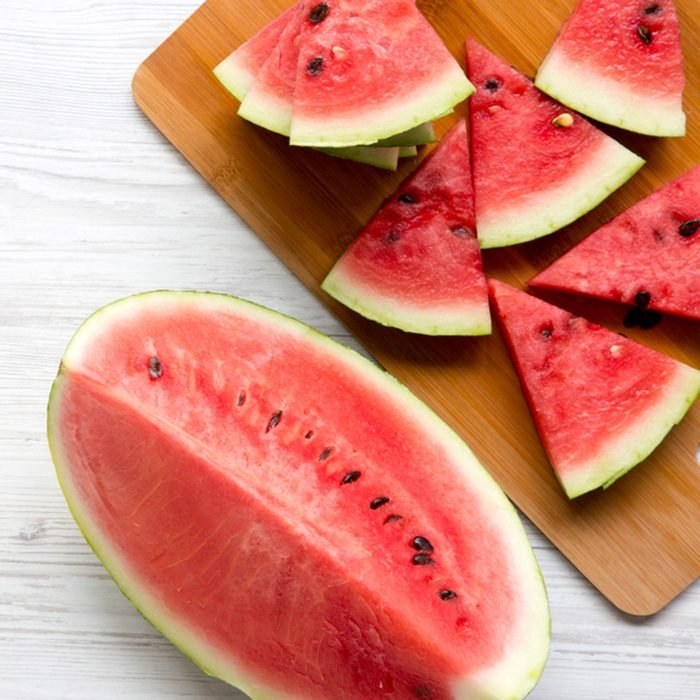 Slices of fresh watermelon on bamboo board, from above. Top view. Copy space.; Shutterstock ID 1129654364; Job (TFH, TOH, RD, BNB, CWM, CM): Taste of Home