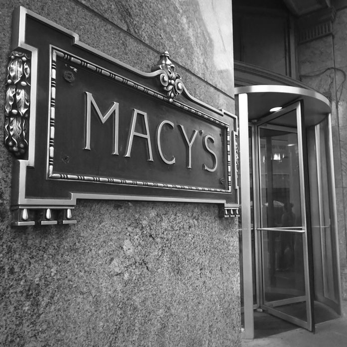 NEW YORK CITY - DEC 2: Sign at entrance of Macy's department store in Herald Square, NYC on Dec 2, 2011. This building was added to the National Register of Historic Places as a landmark in 1978