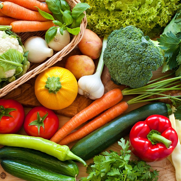 Close up of various colorful raw vegetables; Shutterstock ID 145891655
