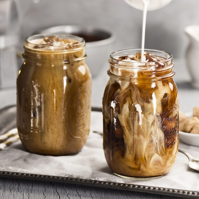 Milk Being Poured Into Iced Coffee; Shutterstock ID 262673684; Job (TFH, TOH, RD, BNB, CWM, CM): TOH