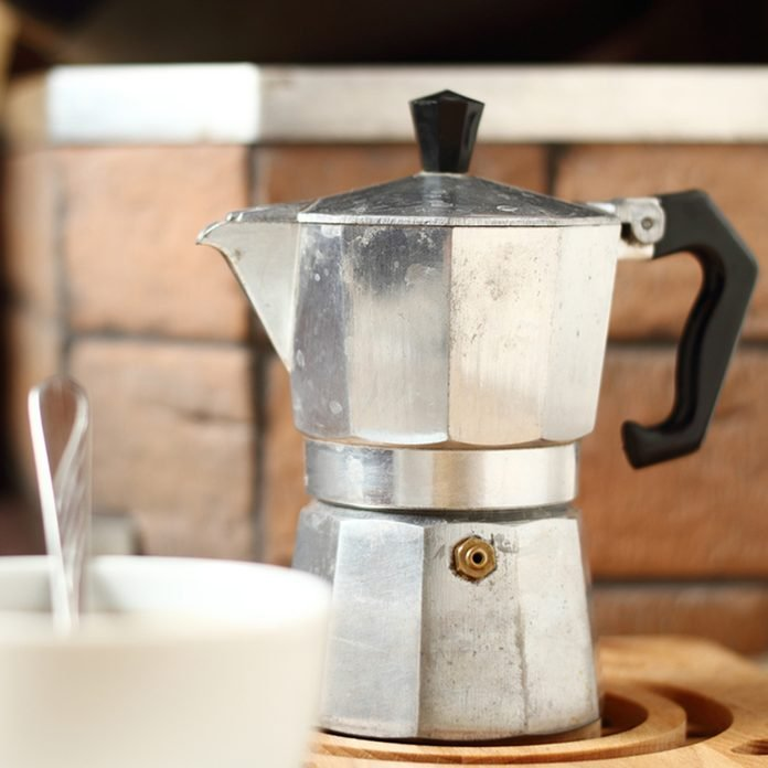Moka pot and coffee cup; Shutterstock ID 344222915