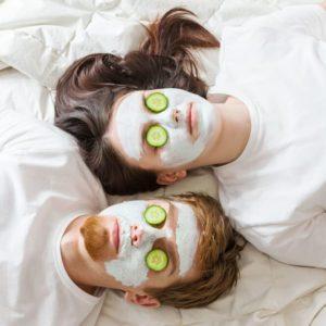 Couple getting homemade facial mask