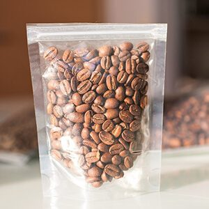 coffee beans in transparent pack
