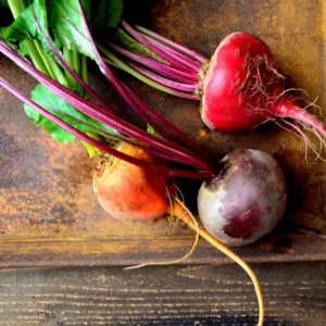 3 colors beets on the rusted tray