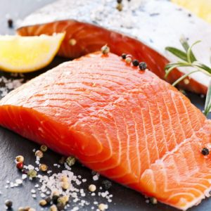 Fresh salmon with spices; Shutterstock ID 91610936