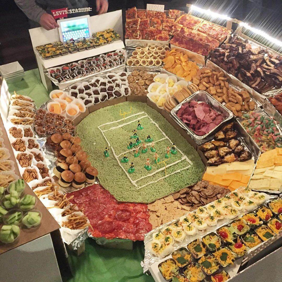 elaborate Super Bowl snack stadium with iPad scoreboard