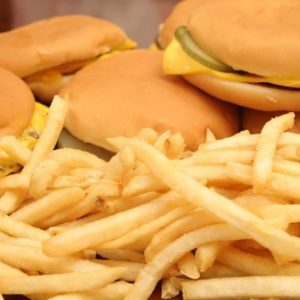 Pile of burgers and fries