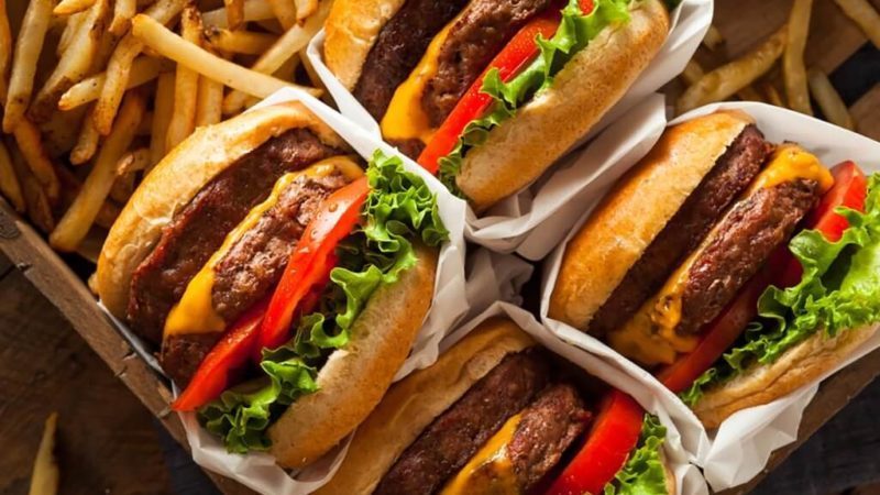 Burgers and fries