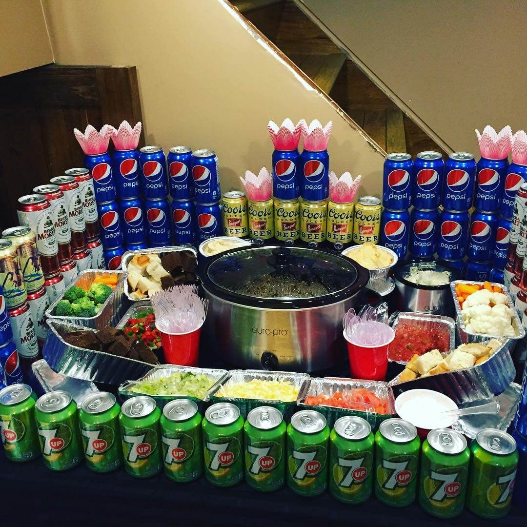 Super Bowl Snack Stadium with beer and soda cans