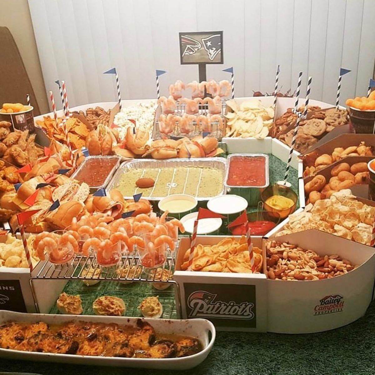 Super Bowl snack stadium with shrimp
