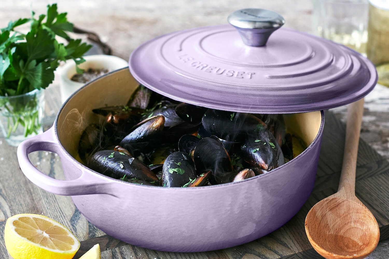 Lavender Dutch oven via Le Creuset