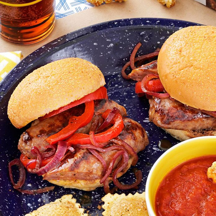 All-American Sausage and Pepper Sliders