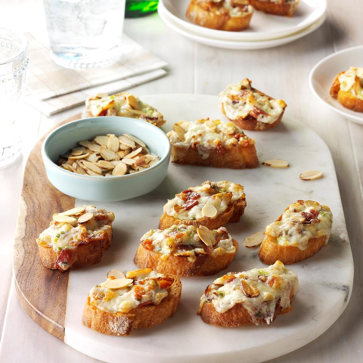 Party Finger Food Ideas Recipes: Almond-Bacon Cheese Crostini Recipe