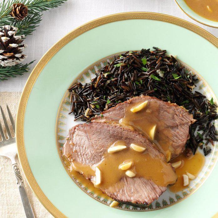 Almond Beef Roast with Wild Rice