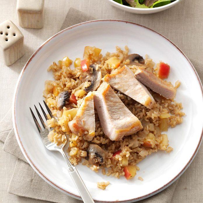 Apple-Balsamic Pork Chops & Rice