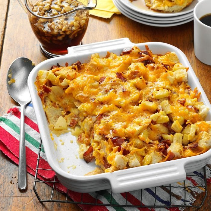 Apple, Cheddar & Bacon Bread Pudding