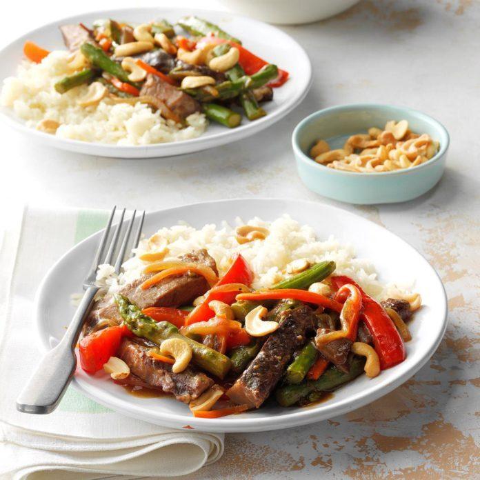 February 15: Asparagus Beef Cashew Stir-Fry