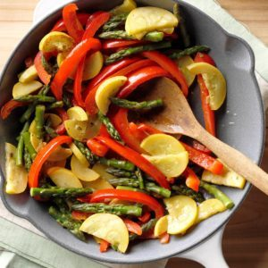 Asparagus, Squash & Red Pepper Saute