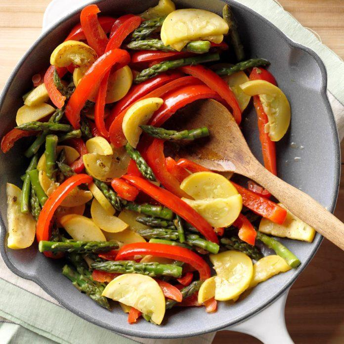 Asparagus, Squash & Red Pepper Saute