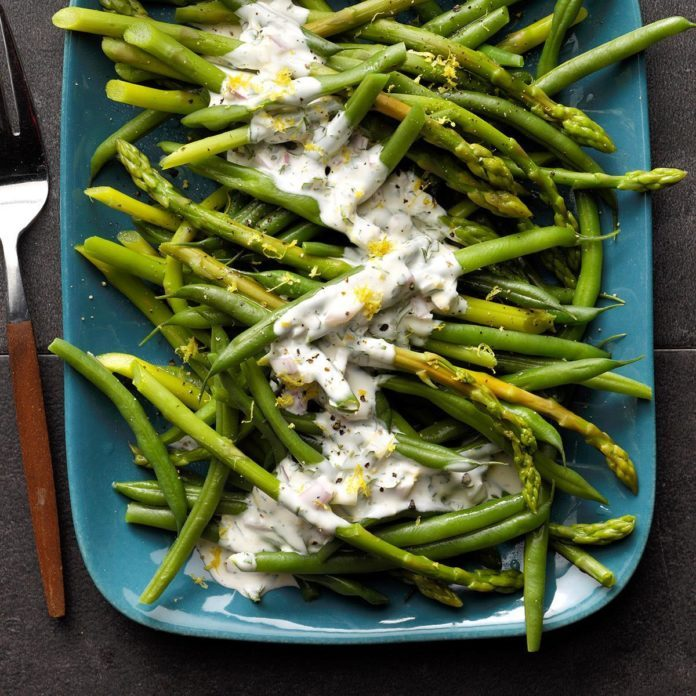 Asparagus and Green Beans with Tarragon Lemon Dip